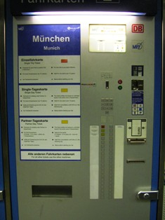 self-service ticket machines for Munich public transport