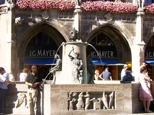 The Fischbrunnen, fountain with a fish figure at Marienplatz, Munich