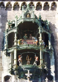 Famous Glockenspiel of City Hall, Marienplatz, Munich