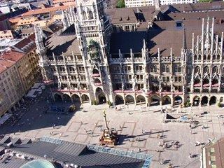 Look at the Marienplatz in Munich from above