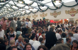 Partying in the beer tent
