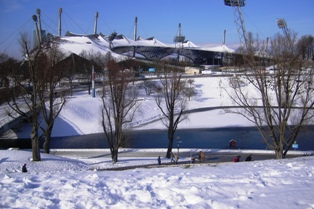 The famous olympic stadium in Munich covered with snow in winter time