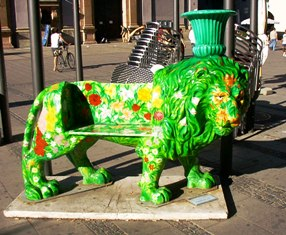 Rare Lion in Munich in form of a bench