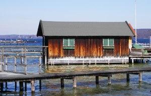 Wooden boat houses at Lake Starnberg