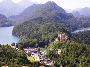View over Hohenschwangau and lakes
